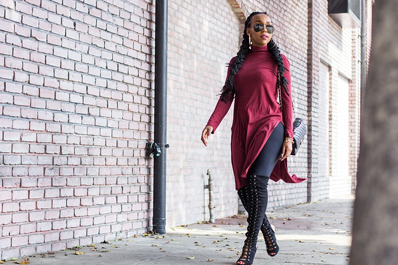 Burgundy Turtleneck & Thigh High Lace Up Boots